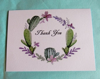 Watercolor Succluent Cactus Wreath Handmade Note Cards Thank You Cards Set of 5 with Envelopes
