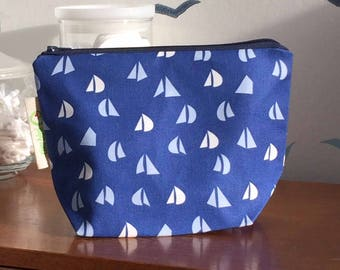 Blue Cosmetics bag, Make-up bag, toiletry bag with light blue and white Yacht Sail pattern fabric with waterproof lining