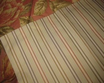 Fun Striped Cotton Rayon Earth Colored Designer Fabric Sample