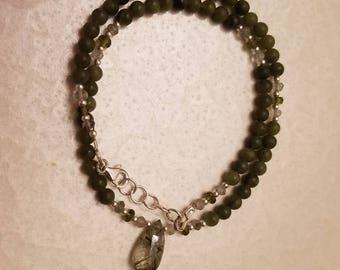 Green Rutilated Quartz, Taiwan Jade, Vesuvian Mala Necklace Bracelet