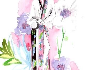 DVF Spring 2017 Art Print, Fashion Illustration, Fashion Sketch, Watercolour Illustration, Fashion Art