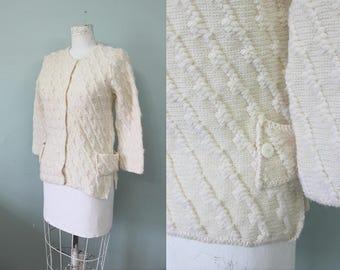 Buttercream cardigan | vintage 1960s cream knit sweater | 60s deadstock knit cardigan