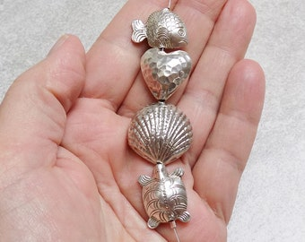 Thai silver animal and heart bead lot