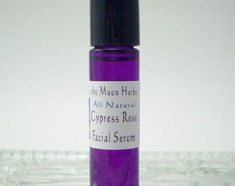 Facial and Eye Serum Roll On - Cypress Rose Essential Oil Skin Care - Light Natural Moisturizer
