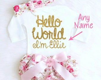 Newborn Baby Girl Coming Home Outfit, Cute Baby Clothes, Baby Shower Gift HELLO WORLD Going Home Outfit Boho Baby Girl Outfit Personalized