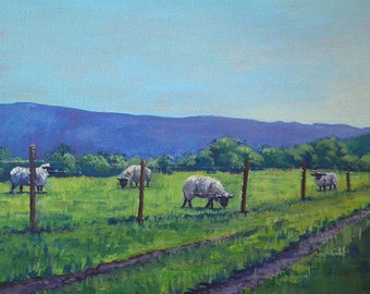"""Cow Painting on Canvas """"Grazing Time"""" [PRINT], Farm Painting, Landscape Painting, Cow Art, Acrylic Painting"""