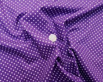 Rose & Hubble 100% Cotton Poplin Fabric - 3mm Polkadot Spot - Purple - Dressmaking , Quilting, Craft Material