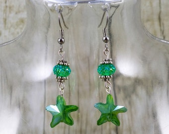 Green Starfish Earrings | Green Earrings | Beach Jewelry | Green Jewelry | Gift for Her Under 25 Dollars | Gift for Mom | Gift for Wife