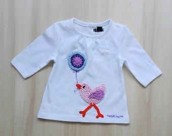 Newborn t-shirt, balloon t-shirt, birdie t-shirt, decorated t shirt, baby t shirt, baby tshirt, baby bird t-shirt, baby shower gift