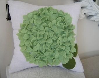 Hydrangea Pillow in White Linen and Pistachio