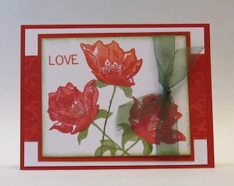 LOVELY POPPIES CARD - Anniversary - Hand Stamped