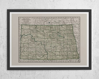 NORTH DAKOTA MAP- Vintage Map of North Dakota Wall Art - Vintage Map Reproduction, N.D. State Map, North Dakota State Map