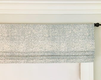 Faux (fake) Flat Roman Shade Valance.  Premier Prints Zoey Clay.  Off White, Taupe and Blue/Grey.  Other colors available.
