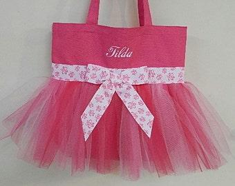 Dance bag, pink tote bag, tutu tote bag, tutu ballet bag, Embroidered tote bag, gift tote, ballet dance bag, Personalized tote bag, TB7 BP