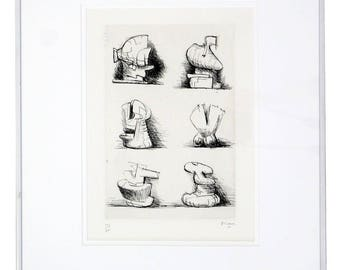 Mid Century Modern Print Six Sculpture Motives Signed by Henry Moore 182/200