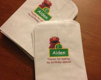 Personalized Elmo Sesame Street themed bags, elmo goody/goodie candy bag, party favor