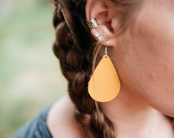 Leather Teardrop earrings - Mustard