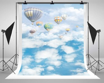 Blue Sky White Clouds Hot Air Balloon Photography Backdrops Newborn Baby No Wrinkle Photo Backgrounds for Children Studio Props