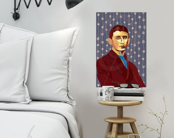 Franz Kafka FRAMED ART, Literature, iconArt, Personalized Gift, Name, City, Gift For Women, For Men, For Grandma, For Grandpa,