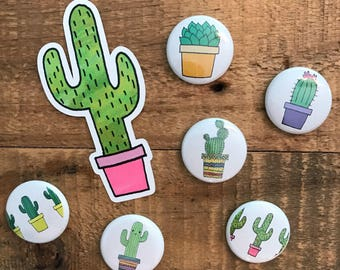 Flair Buttons/Magnets | Cacti and Succulents