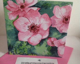 Pink Anemone Card, Flower greeting card, Pink flower Card, from original watercolor painting, blank printed card