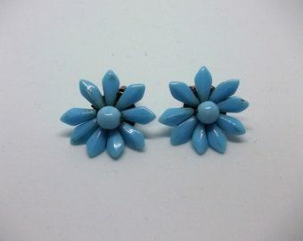 Vintage Flower petal earrings. Blue. Clip on. Lightweight Plastic.