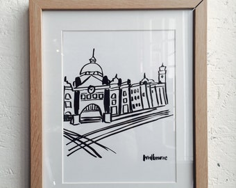 """Melbourne """"Flinders Street Station"""" - Illustrations, Poster, Home decor, Drawings, Wall Art, City Series, Physical print listing"""