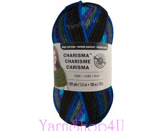 NORTHERN LIGHTS Bulky Charisma Loops and Threads Yarn. Rainbow Blue, Purple Green Ombre is 3.5oz 109yds. Chunky Variegated Soft Acrylic >
