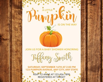 Pumpkin Baby Shower Invitation, Pumpkin Invitation, Fall Baby Shower Invitation, A little pumpkin is on the way baby shower invitation