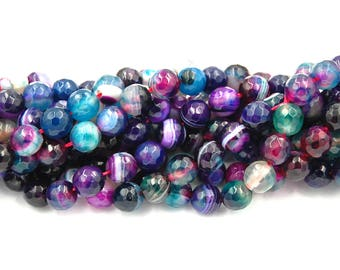 """Purple Faceted Agate, Banded Agate, 8mm Faceted Teal and Purple,  - 15"""" strand"""