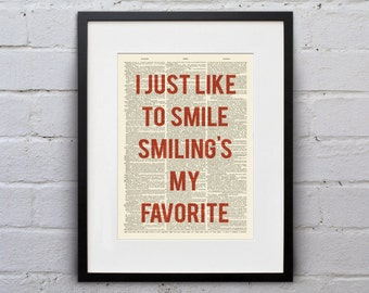 I Just Like To Smile Smiling's My Favorite - Inspirational Quote Dictionary Page Book Art Print - DPQU067