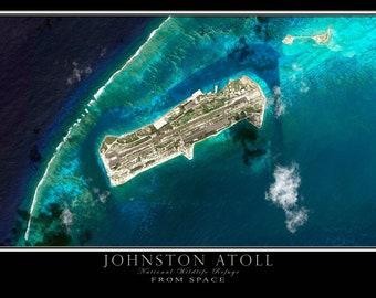 Johnston Atoll Satellite Poster Map