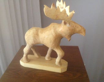 Moose carving, moose, carved moose, animal carving, hand carved, Canadian moose