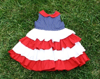 Patriotic, 4th of July Ruffled Dress (Sizes 6-12 Months to 8 available)