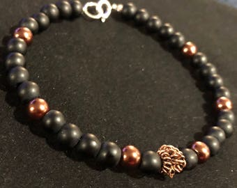 Matte Black and Copper Beaded Bracelet