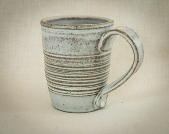 Hand Carved Ceramic Mug - Ceramic Coffee Cup - Carved and Decorated Tea Mug - 10 oz Tea Cup - White Carved Stoneware Mug