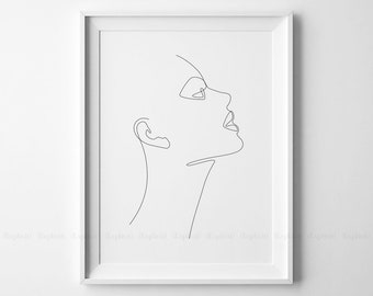 Line Drawing Face Woman : Girl face line art etsy