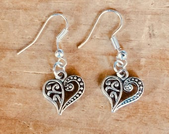 Heart tattoo earrings