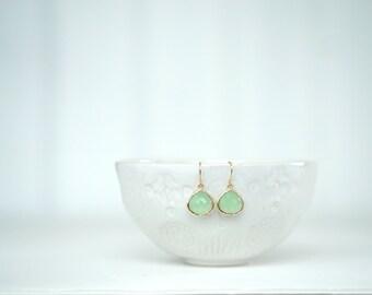 Mint Green and Gold Teardrop Earrings   Bridesmaid Earrings   Wedding Jewelry