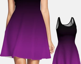 Black and Purple Dress, Black Dress, Sundress, Ombre Dress, Fitted Dress, Designer Dress, Fit and Flare Dress, Summer Dress Mid-Thigh Dress