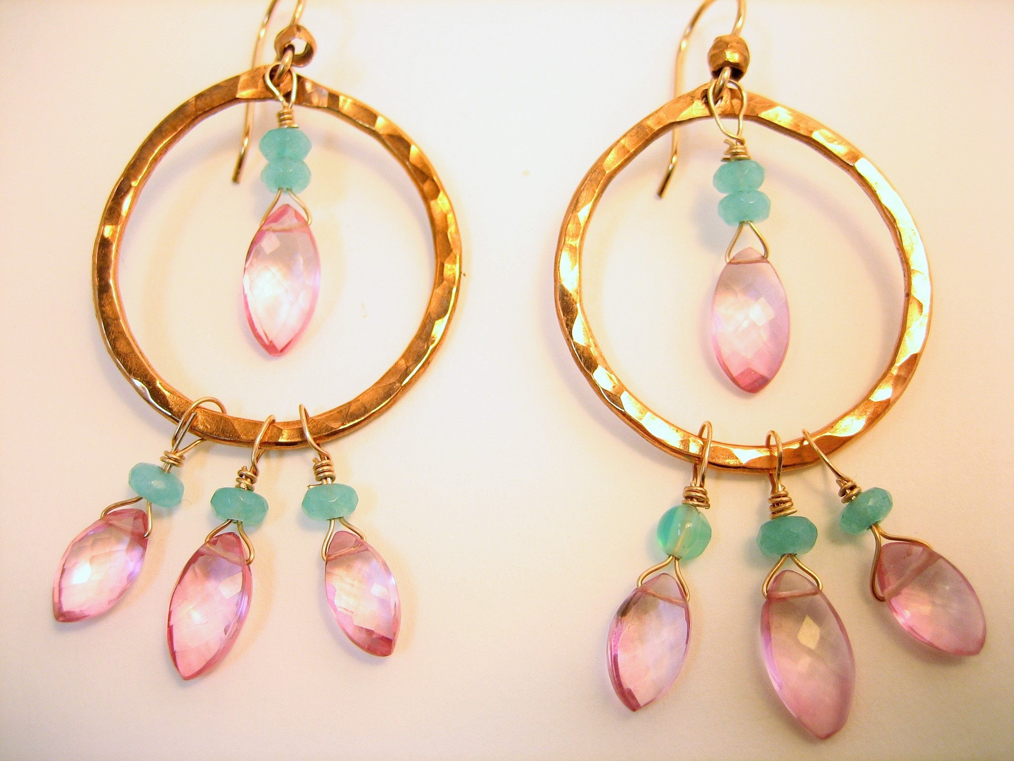 Copper gypsy hoops with pink tourmaline, pink gemstone earrings, pink and copper, misty metal, gift for her
