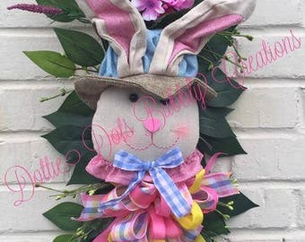 Bunny Swag With Plaid Bow, Bunny Swag, Spring Swag, Spring Wreath, Bunny Wreath