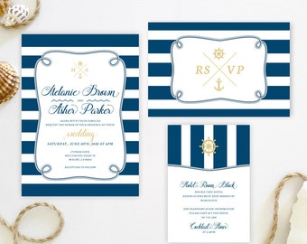 Cruise ship wedding invitation sets printed on luxury shimmer card stock | Anchor themed wedding invitations | Nautical invitations