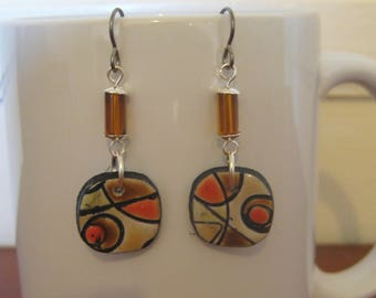 Polymer Clay Abstract Earrings.  Titanium Ear Wires for sensitive ears.  Abstract/Bohemian/Retro/Artisan