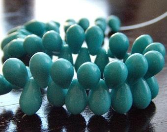 Czech Glass Teardrop Turquoise 9x6mm Bead - 25 pc Tear Drop Bead