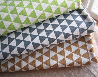 Triangle CARAMEL in linen and cotton fabric thick soft Scandinavian technical pattern