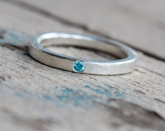 Delicate Silver Paraiba Colored Topaz Wedding Ring Hammered Texture Blue Narrow Subtle Modern Rustic Bridal Band Small Gem - Electric Dab