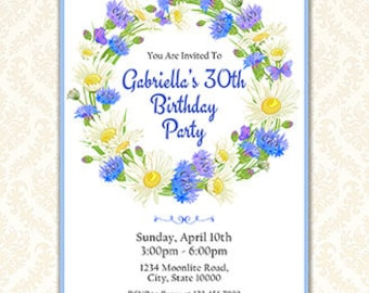 Printable Floral Wreath Party Invitation, Flowers Invitation for Any Age, Personalized Your Words or Event, Digital Download