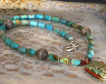 Tubes Tubular Authentic Turquoise Stone Beads, Sterling Silver Hill Tribe Rounds Necklace Plus Wire Wrapped Unknown Stone Scarab Egyptian