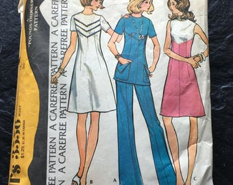 "Vintage Early 1970s Dress or Tunic & Pants Pattern // McCall's 3556 Size 14 > 1973 ""Pounds-Thinner"" pattern"